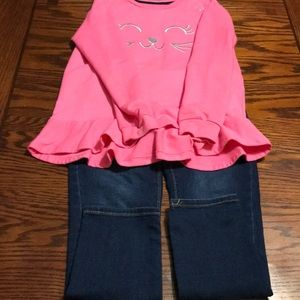 Old Navy Girl's Adjustable Skinny Jeans and Shirt